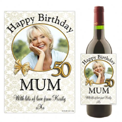 Personalised Happy Birthday Wine / Champagne Bottle PHOTO Label N17